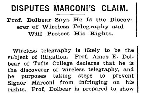 New York Times article, Oct 6 1899