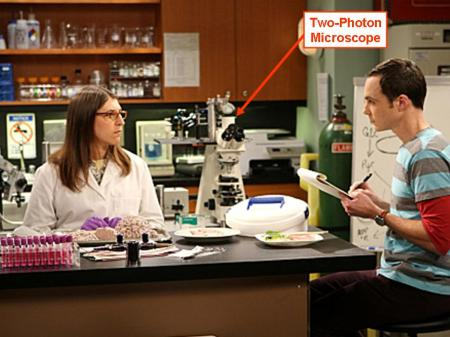 "Amy Farrah Fowler prepares samples for her ""two-photon microscope""."